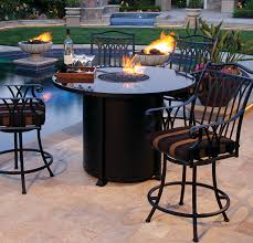54 round counter height santorini porcelain top fire pit by ow lee