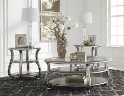 top round coffee table sets cayne silver metal glass 3pc rectangle round coffee table set