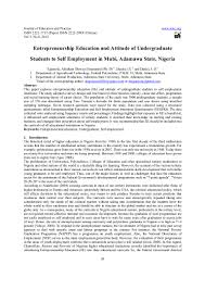 entrepreneurship education and attitude of undergraduate students to