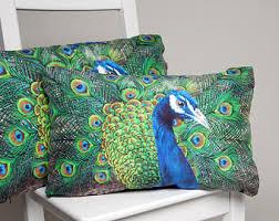 Peacock Cushion - handmade digitally printed silk cushion