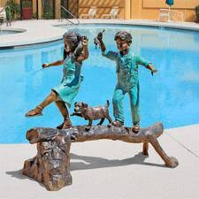 children garden statues. The Adventure, Boy And Girl On Log Cast Bronze Garden Statue Children Statues D