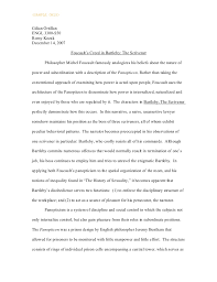 foucault s creed in bartleby the scrivner  sample only gilian ortillanengl 3300 s50romy kozak 14 2007 foucault s creed
