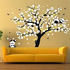 cherry blossom wall decal huge white cherry blossom tree wall stickers nursery decorative decals playing panda