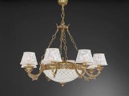 Kronleuchter Aus Goldenen Messing Mit Lampenschirm 11 Flammig