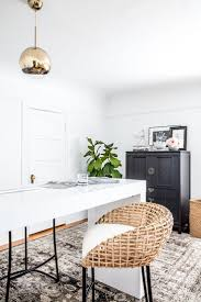 Office makeover with Rue and Loloi // black white and natural workspace