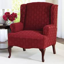 Living Room Chair Covers Red Velvet Chair Cover For Wingback Chair On White Living Room Rug
