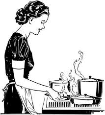 woman cooking clipart black and white. Beautiful White Retro Lady Cooking Stock Vector  28344682 With Woman Clipart Black And White I
