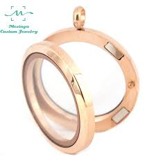 10pcs 30mm pvd rose gold 316l stainless steel plain magnet glass locket pendant necklace for floating charms
