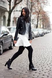 le fashion blogger sweater white skirt lace top leather jacket black boots opaque tights mini skirt black leather jacket boots high heels boots