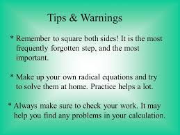 tips warnings remember to square both sides