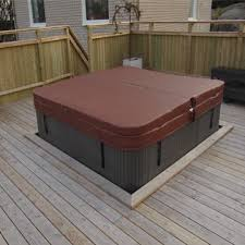 semi deck outdoor hot tub with spa coverlike