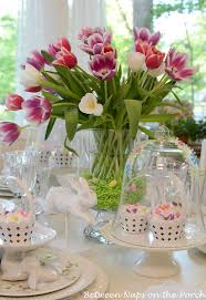 Decorating With Raffia Beauteous Easter Table Centerpieces Ideas With Red Purple And