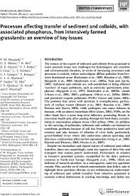 Processes affecting transfer of sediment and colloids, with associated  phosphorus, from intensively farmed grasslands: an overview of key issues -  Haygarth - 2006 - Hydrological Processes - Wiley Online Library