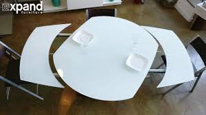 baobab round white glass extendable kitchen table on wood base expand furniture