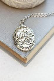 silver locket necklace antique silver fl pendant vintage style photo locket keepsake gift for her jewellery dogwood flowers long chain