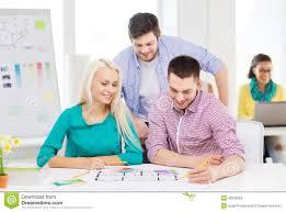 Black Female Interior Designers Smiling Interior Designers Working In Office Stock Image