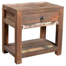 reclaimed wood nightstand. Reclaimed Wood Side-table And Drawer - (23H X 18W 18D) Natural Timbergirl Nightstand