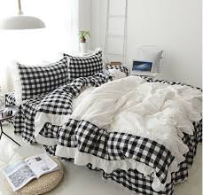 Levinis Black and White Buffalo Check Retro Plaid Bedding Set Grid Ruffle Duvet Cover Sets Modern Comfy Soft Cotton Bed Skirt Set Full Size 4 Pcs