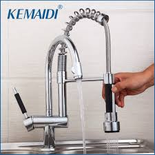 Water Tap Design Us 84 99 45 Off Kemaidi Kitchen Mixer Valve Water Taps Pull Out Design Kitchen Sink Faucet Chrome Sink Faucet Two Functoin Use Deck Mounted In