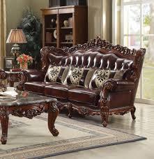 eustoma wood trim top grain leather sofa 53065