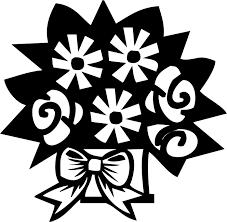 ポップでかわいい花のイラストフリー素材no1162白黒花束リボン