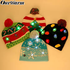 Light Up Christmas Sweater Kids Us 3 99 40 Off Ourwarm Led Christmas Beanie Ugly Christmas Sweater Christmas Hat Beanie Light Up Knitted Hat For Children Adult Christmas Party In