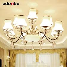 new luxury modern crystal chandeliers led living room chandelier lighting fixtures gold plated hanging lights with glass shade chandelier for bedroom