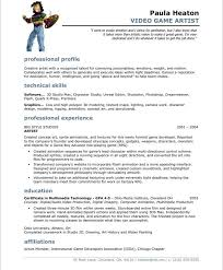 Game Animator Sample Resume