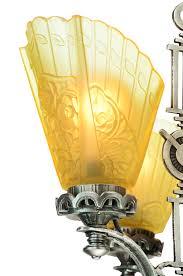 vintage hardware lighting art deco slip shade chandelier with etched glass center panels ant 927