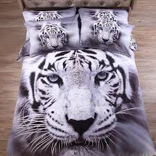 gray white tiger 3d animal bedding sets cotton sheet pillowcase quilt cover linens set white bedding sets duvets from yong8 254 08 dhgate com