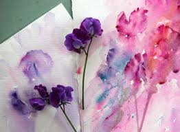 painting from life sweet pea in watercolour