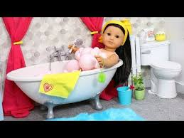 playing with baby doll bathroom in american girl dollhouse doll bathtub filled with bubbles for bubble bath setting up toy bathroom with play toys and