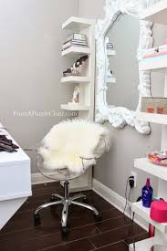i m still working on setting up a hair station in front of the mirror i want to add some shelves underneath or something that will allow me to