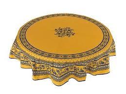 provencal 100 coated cotton tablecloth marat avignon flowers yellow 71 round