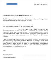 Employee Acknowledgement Form Template Employee Acknowledgement Letter Template 6 Free Word Pdf