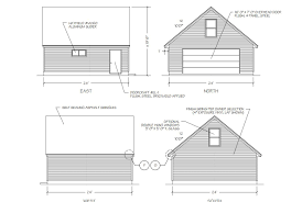a diagram of four sides of a garage