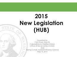 2015 New Legislation (HUB) Presented by Pam Floyd, Director Corporations &  Charities Division Office of the Secretary of State And Tsering Cornell,  Assistant. - ppt download