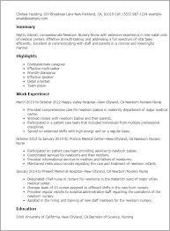 Resume Templates: Newborn Nursery Nurse