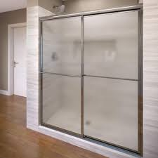 framed sliding shower door in silver