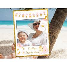 home large personalized royal gold baby shower frame prop image for gallery