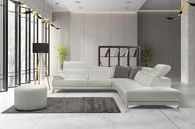 idris light gray italian leather modern sectionals contemporary sectionals