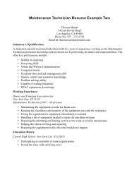 Maintenance Technician Resume Resume Cover Letter Example