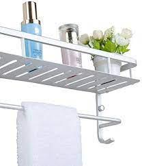 Amazon Com Chrasy Modern Double Layer Towel Bar Wall Mount Bathroom Storage Shelves And One Towel Bar And 2 Hooks Aluminum Towel Holders Shower Towel Rack Bath Kitchen Storage Shelf 15 7in Home Kitchen