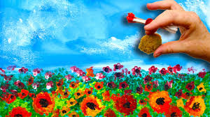 easy poppies no brushes acrylic painting sponge and cotton swabs beginners acrylic painting