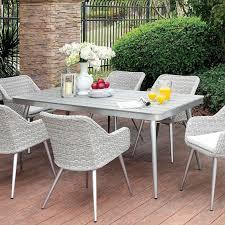 Furniture of america shivani contemporary gray rectangular outdoor dining table