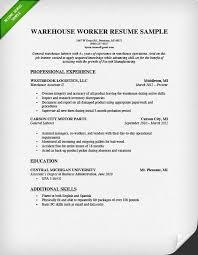 Sample Warehouse Resume Musiccityspiritsandcocktail Com