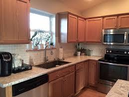 Oak Honey Granite Counter For Best Blue Backsplash Golden Wood