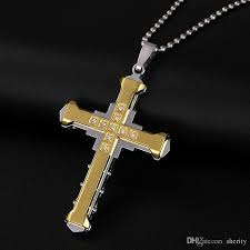 whole fashion male crystal cross pendant silver gold black stainless steel zirconia cross pendant necklace jewelry for men kka1840 pendants gold