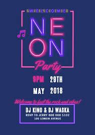 Party Invitation Generator Online Neon Party Invitation Template Fotor Design Maker