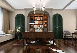 office with dark green accents and neutral walls